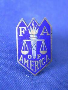F-A-Of-America-Lapel-Pin-Blue-Enamel-Screw-Back-Vintage