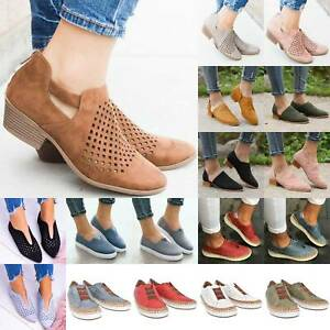 Womens-Hollow-Out-Mesh-Sneaker-Flat-Slip-On-Pump-Casual-Sport-Comfy-Shoes-Sizes
