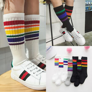 77466b8f9623 Details about Children Socks Boys Girls Cotton Rainbow Striped Sports Knee  High Sneaker Socks