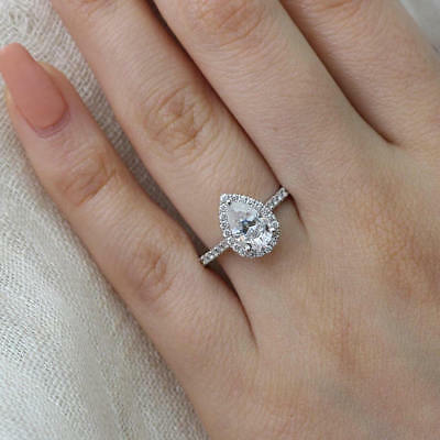 real 14k solid white gold 2.30ct round cut diamond halo engagement wedding ring