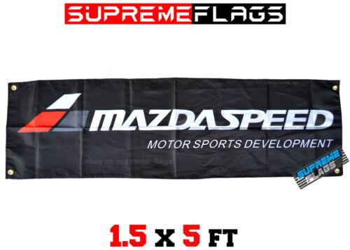 Mazda Banner Flag Mazdaspeed Garage Black 18x58 in
