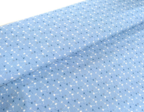 BW TELA algodón pusteblumen diente de león azul claro flores METERWARE 24334