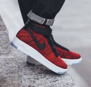 timeless design efee9 34c58 Details about NIKE AIR FORCE 1 ULTRA FLYKNIT MID Red Black 817420-600 &  White 817420-100 Sz 18