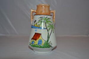 Vintage-Pyramid-Lusterware-Lustre-Urn-Style-Palm-Vase-Made-in-Japan