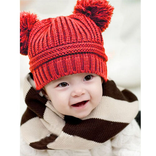 Baby Kids Girls Boys Dual Balls Warm Winter Knitted Caps Hats Beanie 2015 Cute