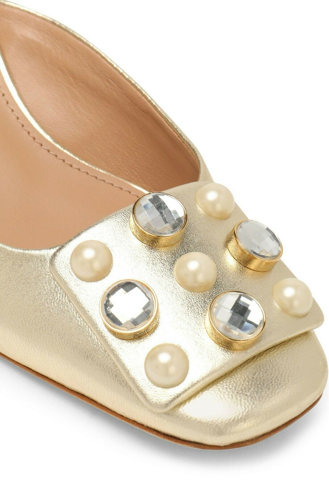 Tory Burch VAIL gold Leather Crystals Pear Mules Low Heel Slides Sandals  6.5