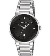 Mens Citizen Quartz Silver Stainless Steel Black Dial with Date Watch BI5010-59E