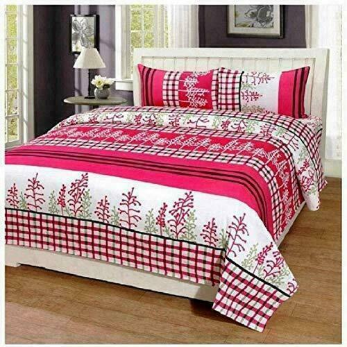 Details about  /Pink Poly Cotton Floral Print Double Bedsheet /& 2 Pillow Covers Bedding Sheet