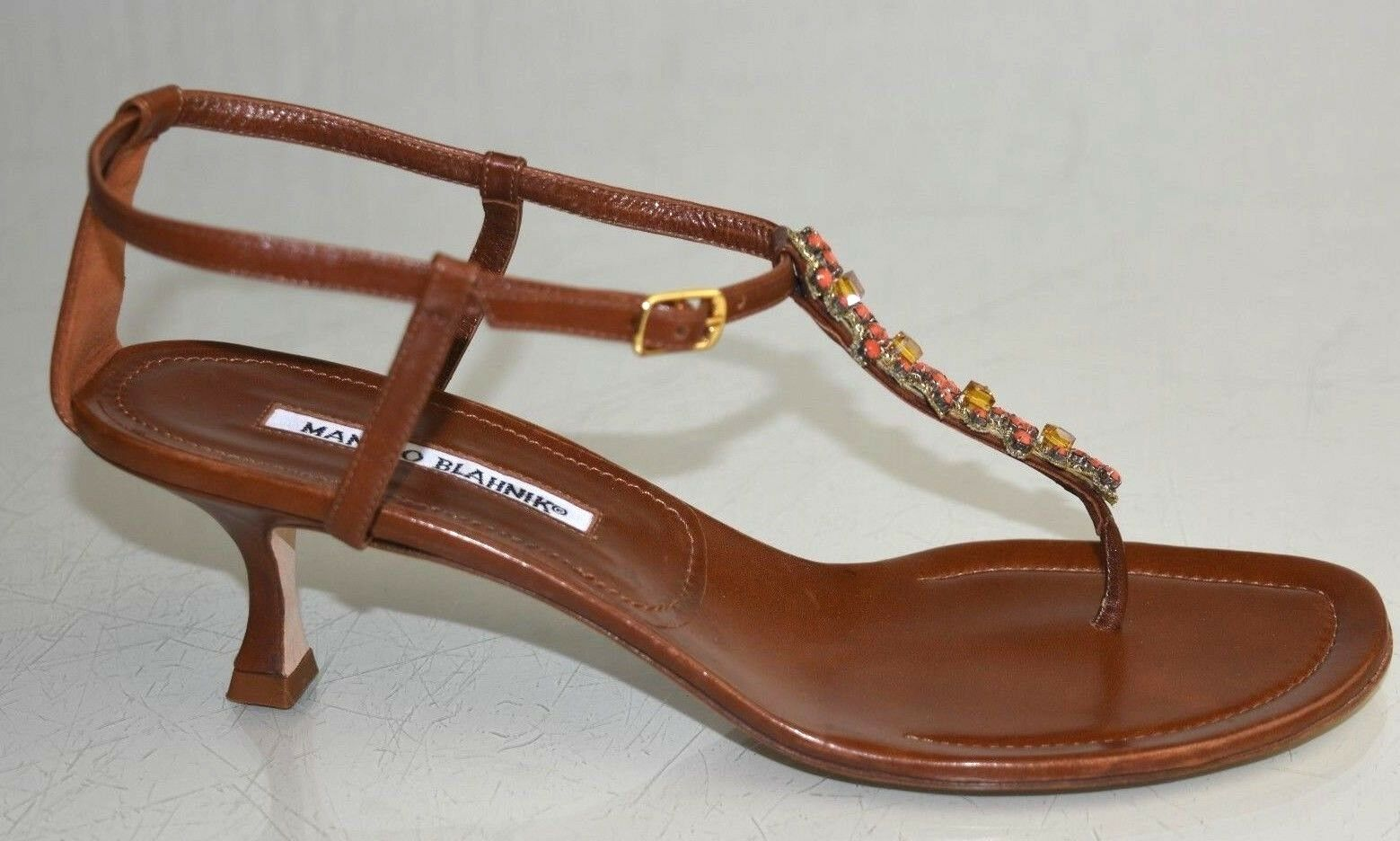 1095 New Manolo Blahnik Leather Brown JEWELED Coral Kitten Kitten Kitten Heel Sandals shoes 40 3f6041
