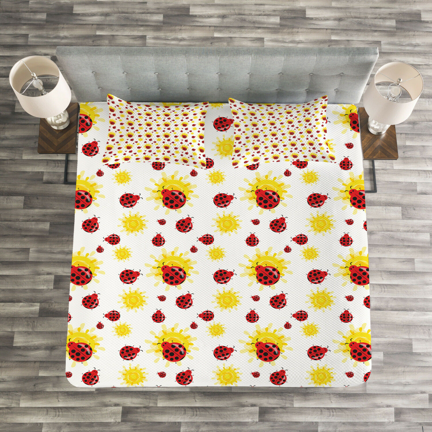 Ladybugs Quilted Bedspread & Pillow Shams Set, Summer Inspired Bugs Print