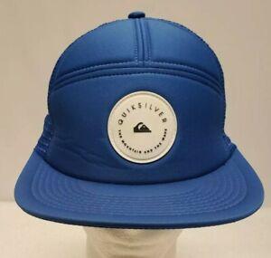 Vintage-Quicksilver-Snapback-Hat-Cap-Ballcap-Foam-Mesh-Surfer-Blue-White-Logo