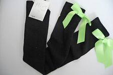 BY FLIRT DESIGNER BLACK OVER KNEE SOCKS WITH GREEN RIBBON BOWS SIZE 4-7 BNWT
