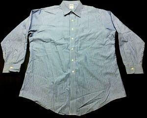 Brooks-Brothers-Mens-Blue-Striped-Long-Sleeve-Button-Front-Shirt-Size-17-1-2-34