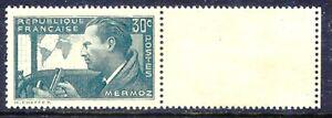 FRANKREICH-1937-Jean-Mermoz-Flieger-0-30-C-postfr-Paar-FEHLENDE-FARBE-GRAUGRUN