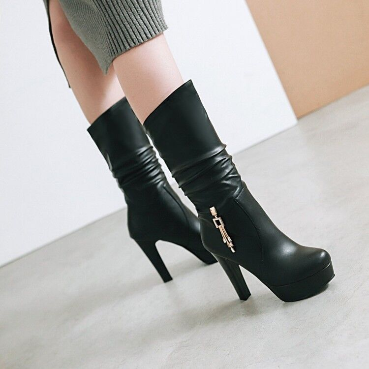 Women's Slouch Mid Calf Boots Chain Decor Platform High Heels Round Toe shoes