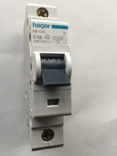 Hager Reja de desminado 32 amp interruptor de circuito bipolar de un solo tipo B 32A B32 462132 NB132