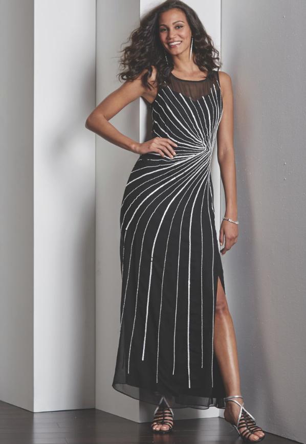 Midnight Velvet Formal Beaded Cocktail Party Black Starburst Gown Dress S M L XL