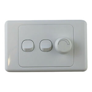 3 gang wall plate with switch led light dimmer universal saa approved ebay. Black Bedroom Furniture Sets. Home Design Ideas
