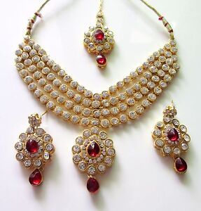 Image Is Loading Indian Ethnic Bridal Red Kundan Bollywood Gold Plated
