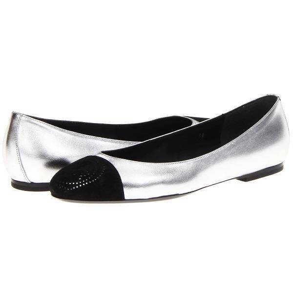 Victor & Rolf S49WZ0018 Cap Toe Leather Flats, Women's shoes,Silver Black