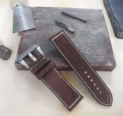 Size 20/22/24/26mm Oil Brown Leather Pre-V Buckle Watch Strap/Band 2-326