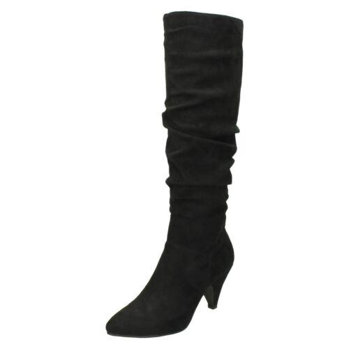 J/&K Spot On F5R0898 Ladies Black Microfibre Knee High Boots LBR
