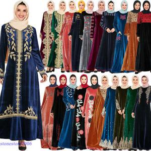 Mujer-Vestido-largo-de-terciopelo-bordado-Abaya-Jilbab-Kaftan-coctel-Islamica-Musulman