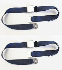 NEW! Sunbeam Tiger Alpine MG BLUE Seat Belts Set of 2 Chrome Buckle Classic Look
