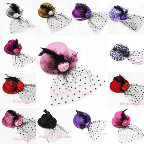 Various Color Sparkle Little Mini Top Hat with Rose Feather Dots Veil Party Clip
