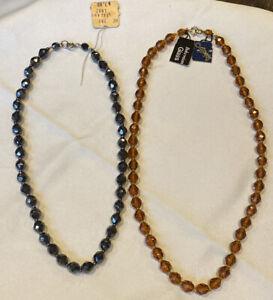 2-Vintage-CAPRI-Czech-Bohemian-Glass-Faceted-Bead-Necklaces-Amber-amp-Hematite