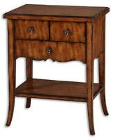 Designer Antique End Table Drawers Colonial Carved Early American Horchow Accent