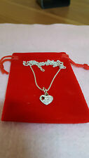 """S925 """"You Complete My Heart"""" Pendant Silver Necklace- With Pandora Box."""