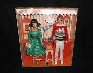 BARBIE CAMPUS SWEET SHOP MIDGE AND ALLAN DOLL GIFTSET GOLD LABEL 2008 NEW NRFB