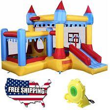 Inflatable Castle Bounce House and 680 Watt Blower Combo Kids Jumper Water Slide