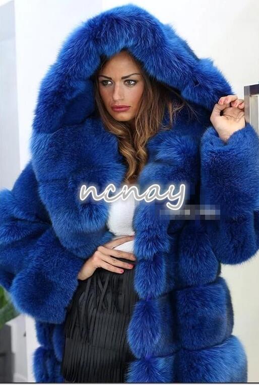 De lujo  para mujer con capucha cuello de piel de zorro piel de visón largo Abrigo Prendas de abrigo Parka gruesa nuevo  ganancia cero