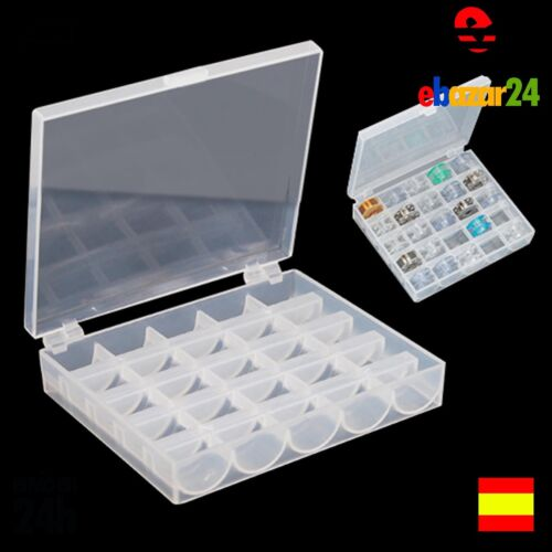 Caja transparente para guardar 30 bobinas de maquina de coser hilo hilos *Envío