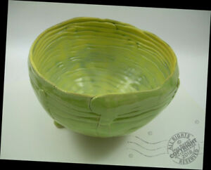 artist yellow green footed fruit basket pottery bowl arts crafts