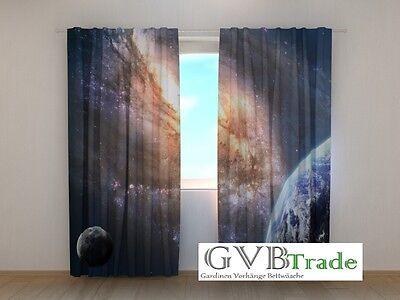 """Home & Garden Nice Fotogardinen Motiv """"planeten"""" Fotovorhang Curtain Vorhang Gardinen 3d Fotodruck Easy And Simple To Handle"""