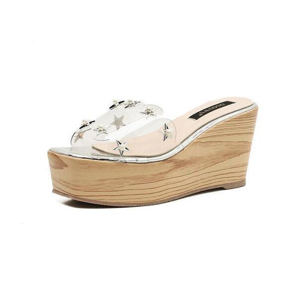 Sandale eleganti sabot zeppa ciabatte 9 silver comodi  simil pelle eleganti 9810