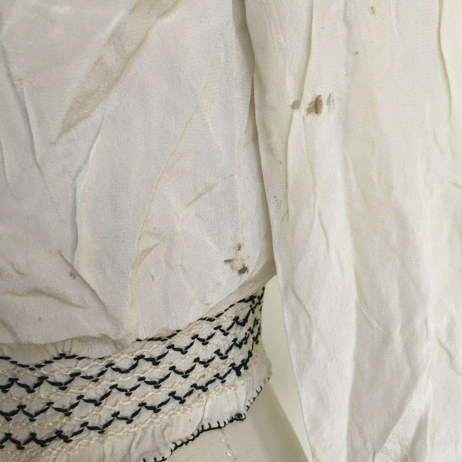 Vtg Hungarian Blouse S-M Embroidered Hand Made Fl… - image 11
