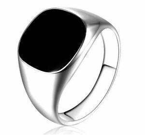 Bague-chevaliere-Ring-Lisse-Homme-034-Carre-Business-034-Argent-Noir-Modele-66