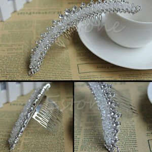 Stunning-Bridal-Wedding-Jewelry-Rhinestone-Crystal-Crown-Veil-Hair-Comb-Tiara