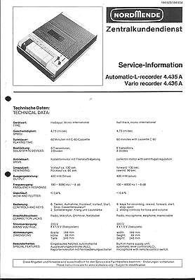 Bescheiden Nordmende Original Service Manual Für Automatic-l-recorder Vario Recorder 4.435 Waren Jeder Beschreibung Sind VerfüGbar