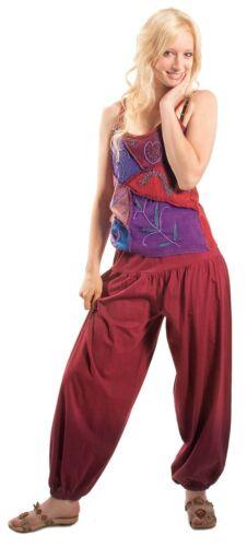 NUOVO sarouel Pantaloni India Goa ALADIN-Harem Pantaloni Yoga Hippie Boho Pump Pantaloni Rosso Vinaccia