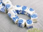 20pcs 10mm Deep Blue Happiness Cube Square Ceramic Porcelain Big Loose Beads