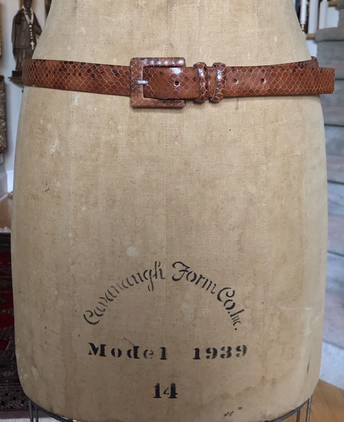 ROBERTO PICCINETTI 100% Leather Faux Snakeskin Brown Belt XLARGE XL