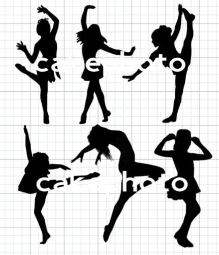 SILHOUETTES FEMME FILLE danseurs comestibles gâteau images//Pré-Découpé Glaçage//Uncut plaquette