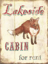 Fox Metal Sign, Lakeside Cabin For Rent, Country Getaway, Retro Home, Den Decor