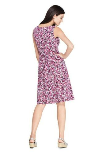 Lands End Women/'s Banded Waist Fit and Flare Dress Wineberry Ditsy Floral New
