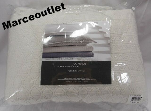Vera Wang Diamond Matelasse King Coverlet Ivory R405 Ebay